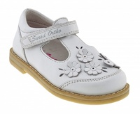 Sursil ortho/orthopedic shoes baby white for prevention of flat feet genuine leather Velcro butterfly and flowers