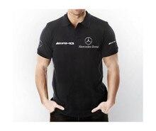 Mercedes amg polo colarinho manga curta camiseta cor preta-amg mercedes