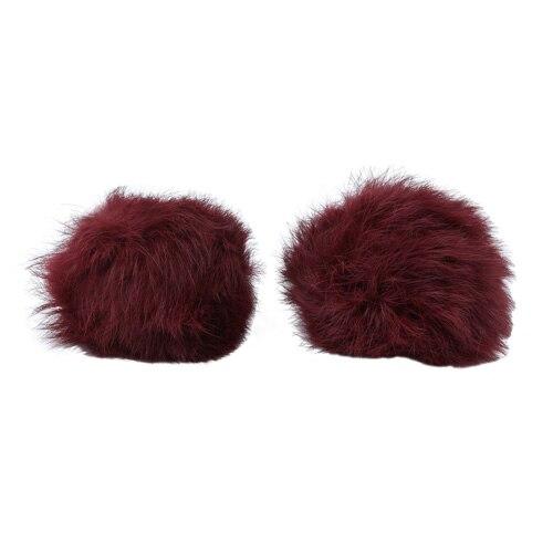 Pompon Made Of Natural Fur (rabbit), D-8cm, 2 Pcs/pack (E Bordeaux)