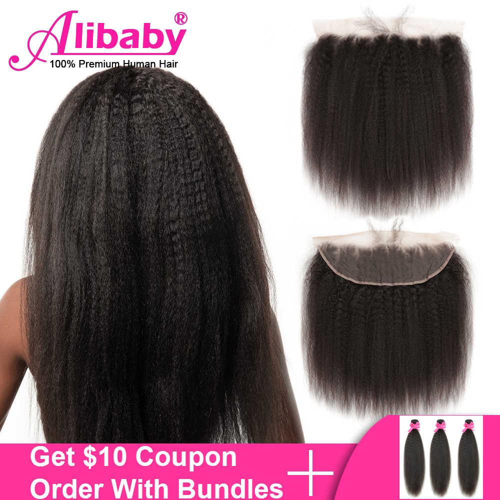 "Alibaby Kinky Straight Hair Closure 8'-22""13X4 Ear To Ear Lace Frontal Closure With Baby Hair 100% Yaki Human Hair lace Fronal"