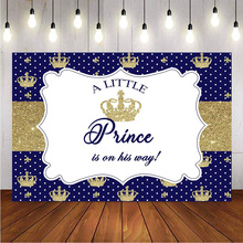 Photography backdrop royal crown blue newborn baby shower happy birthday background for photo booth studio prince theme party