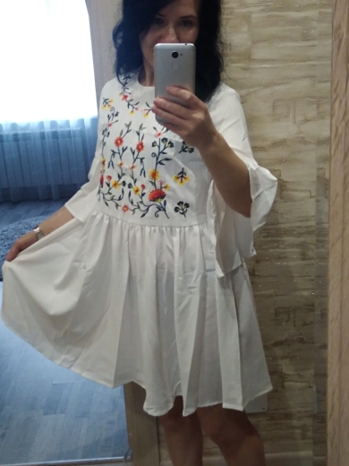 Embroidered Floral Flounce Sleeve Smock Dress Boho A Line Women Flared Cute Dresses White High Waist Summer Dresses photo review