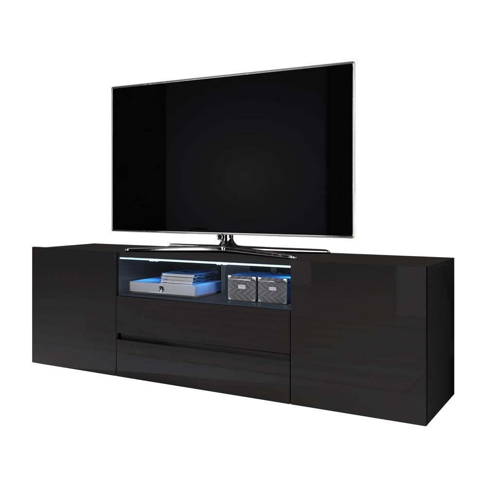 Selsey BROS - Meuble tv / Banc tv (noir mat / noir brillant, 137 cm, avec LED) 2