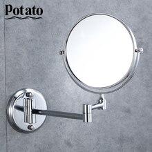 """Potato Настенное зеркало продлить Двусторонняя Ванная комната косметическое зеркало для макияжа, бритья с Rotatalbe """" 3X увеличительное зеркало p760-6"""