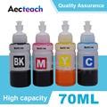 Aecteach 4 цвета принтер чернилами 70 мл флакон T6641 T6642 T6643 T6644 для Epson EcoTank L1300 L850 L3050 L3060 L3070 L364 L382 чернильные картриджи для принтера