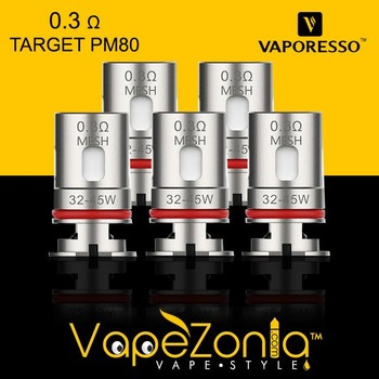 RESISTENCIA GTX 0.3 Ω MESH COIL VAPORESSO TARGET PM 80 - 5 PCS