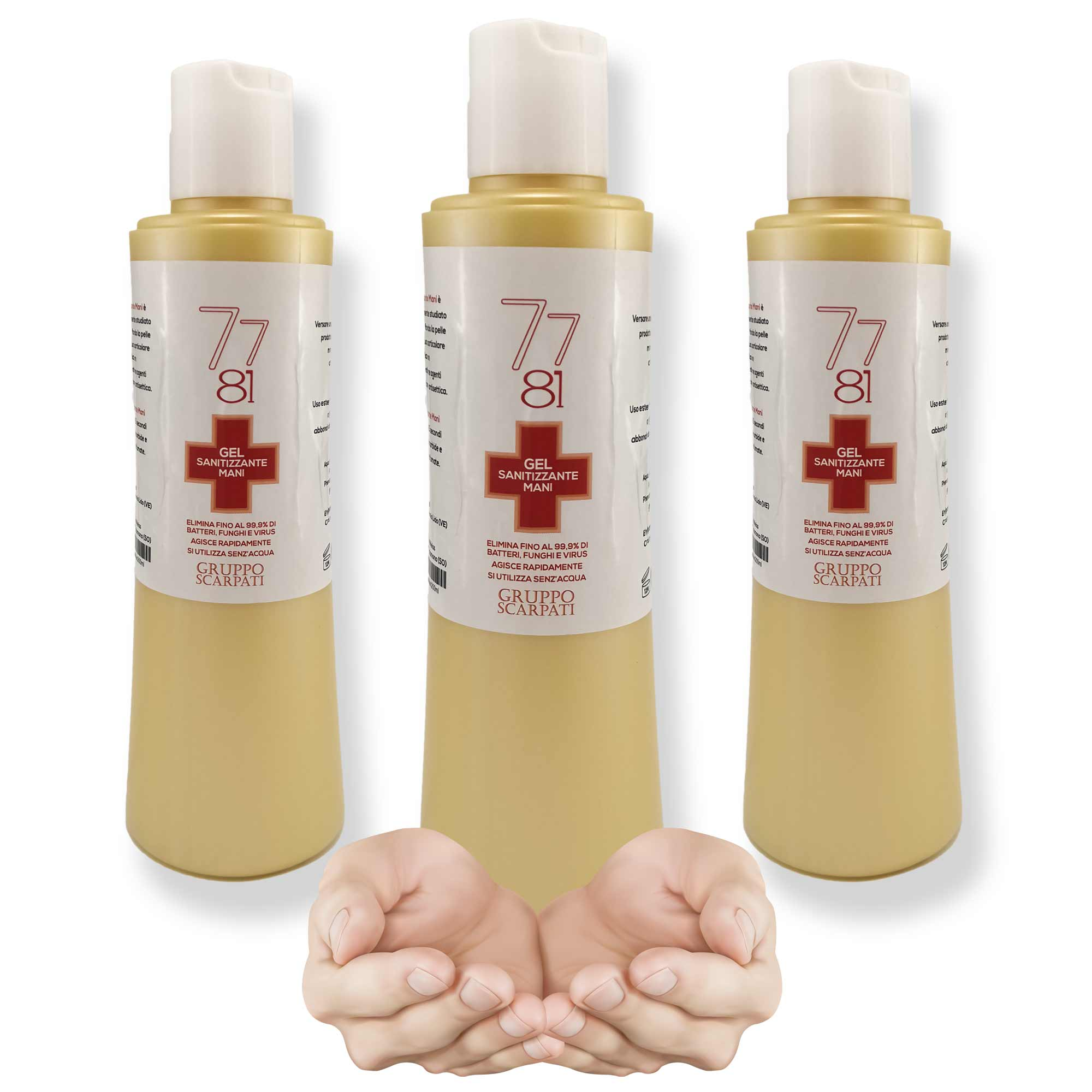 3x SANITIZING GEL HANDS 7781 SCARPATI ANTIBACTERIAL DISINFECTANT BACTERIA MUSHROOMS VIRUS 200ML