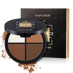 MAYCHEER V-Line Face 4 Couleurs Maquillage du Visage Surligneur Bronzer Shading Poudre Palette Cosmétique (Brun Foncé)