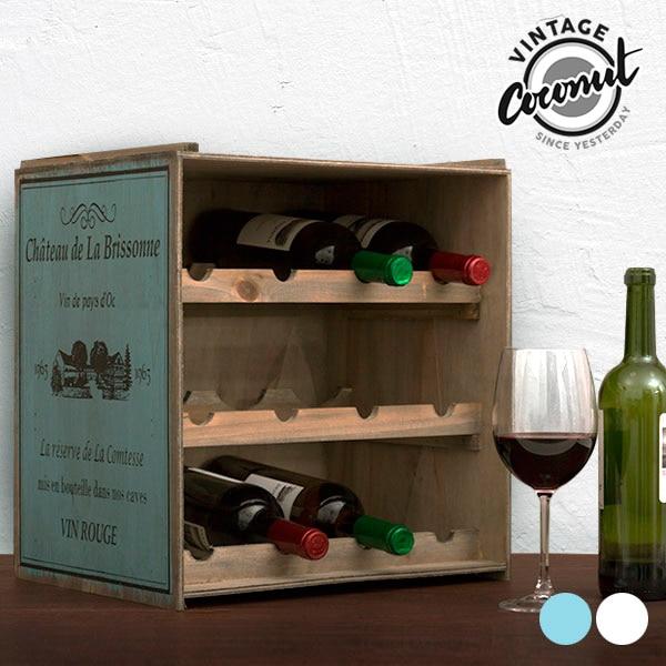 Vintage Coconut Wooden Wine Rack