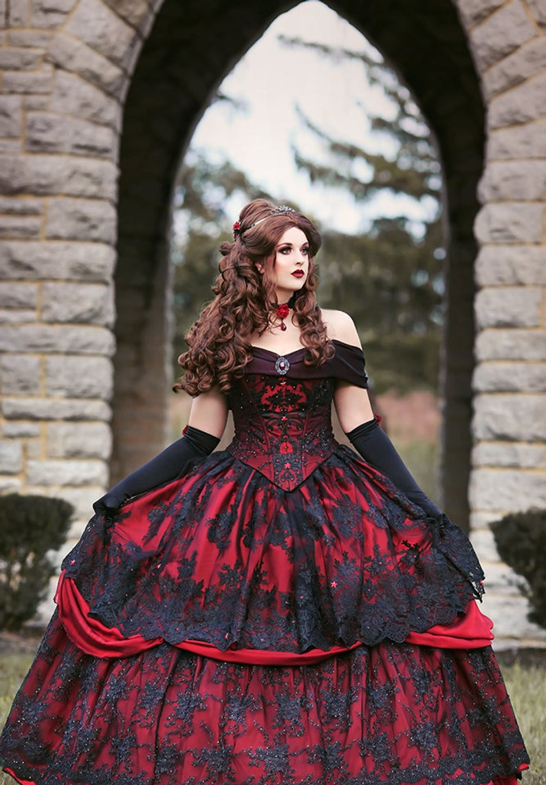 Gothic Belle Red Black Lace Wedding Gown Vintage Lace Up Corset Strapless Tiered Beauty Off Shoulder Plus Size Bridal Gown Wedding Dresses Aliexpress
