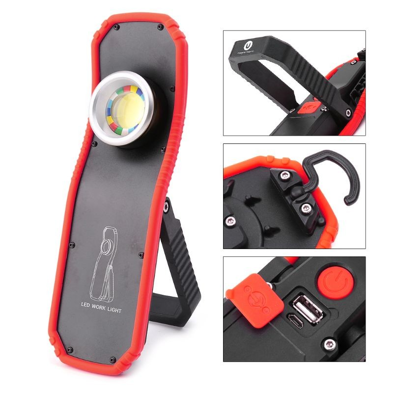 Portable Flashlight Spotlight Torch USB Rechargeable LED Work Light Magnetic COB Lantern Hanging Outdoor Camping Hook Lamp Light