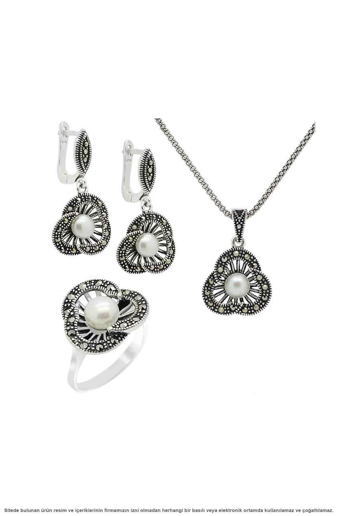 Argent marcassite perle 3 pièces ensemble de bijoux