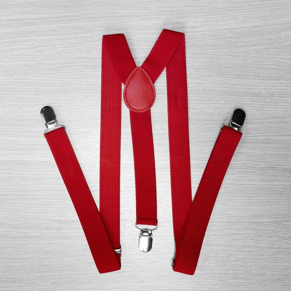 Pants Suspenders Narrow (2.5 Cm, 3 Clips, Red) 50819