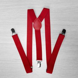 Pants suspenders narrow (2.5 cm, 3 clips, red) 50819