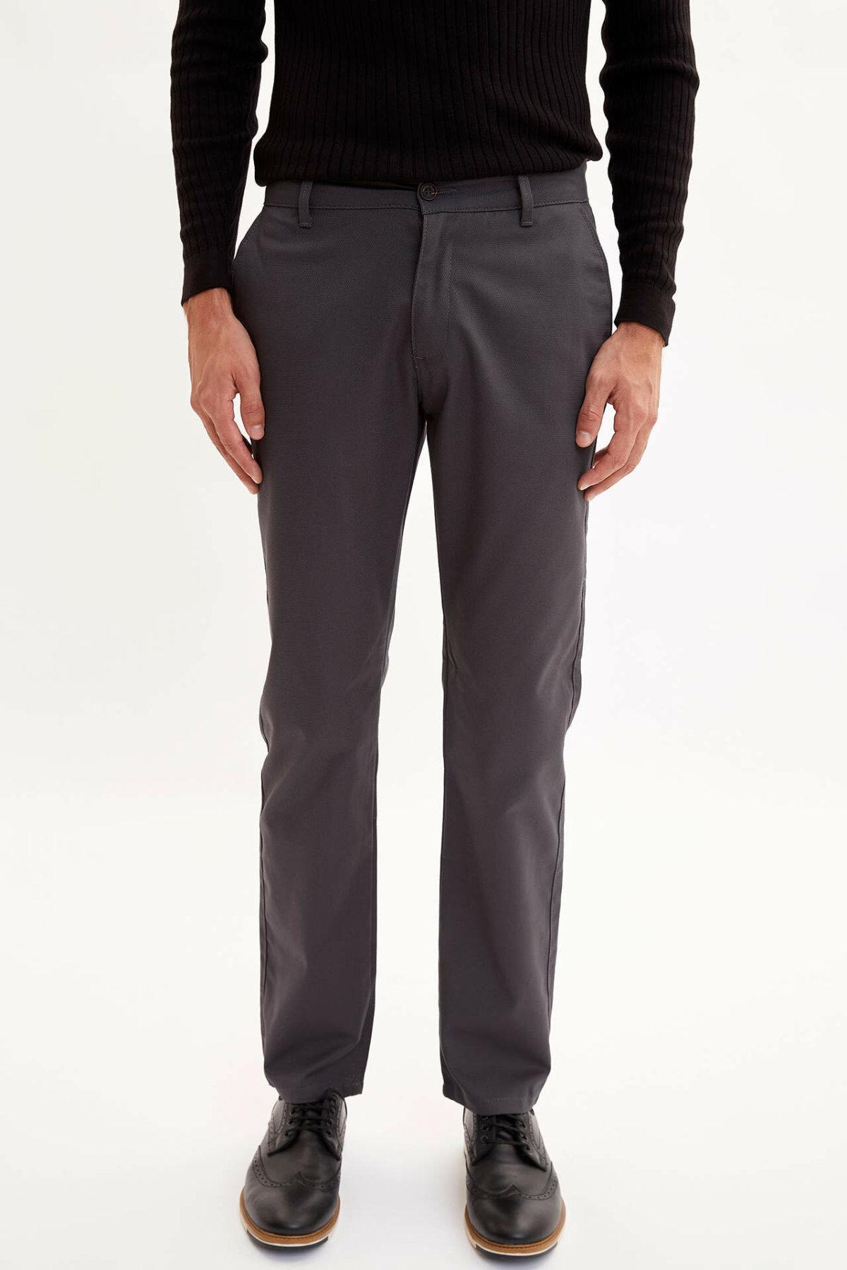 DeFacto Man Spring Casual Pants Men Mid-waist Solid Color Long Pants Male Grey Khaki Bottoms Trousers-L5514AZ19AU