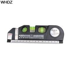 1PC 다목적 레벨 레이저 수평선 수직 측정 테이프 수평 눈금자 4 in 1 적외선 레이저 레벨 크로스 라인 레이저 테이프