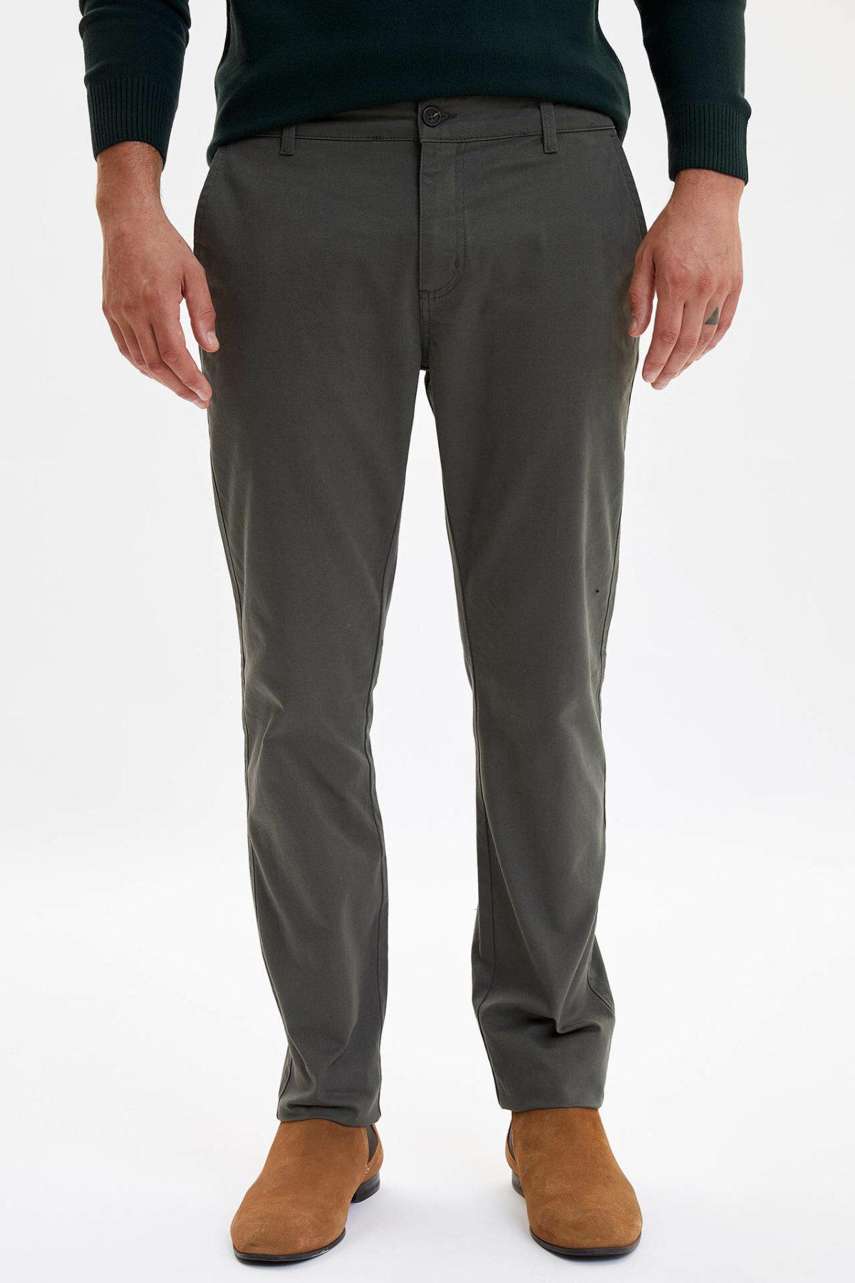 DeFacto New Man Trousers Business Straight Long Pants Mid-waist Solid Color Men's Bottoms Pockets Long Pants - L5511AZ19AU