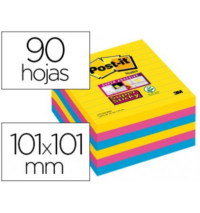 NOTEPAD STICKY NOTES REMOVABLE POST-IT SUPER STICKY 101X101 MM WITH 90 SHEETS STRIPED PACK OF 6 NOTEPAD COLORS