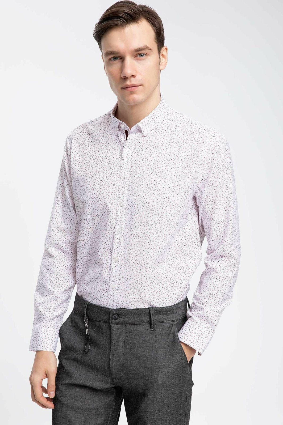 DeFacto Men Formal Stand Collar Shirt Casual Woven Top Long Sleeve Shirt Office Business Wear Top Shirt-K2290AZ19SPBR171