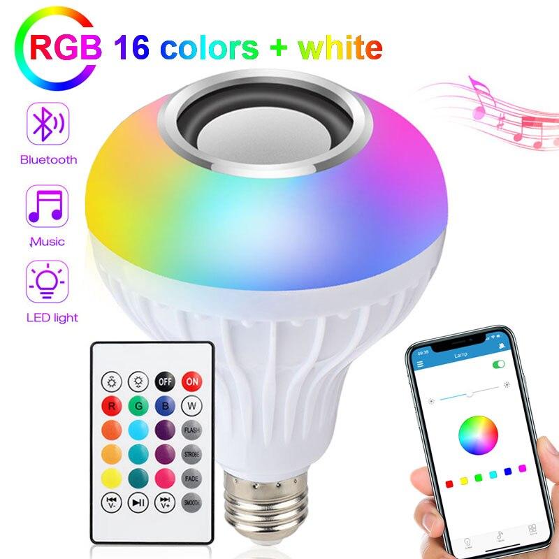 E27 RGB الذكية بلوتوث الموسيقى لمبة 5W10W15W الصوت مصباح منزل جهاز تحكم عن بعد بمصباح ليد ضوء لمبة جو الموسيقى الملونة أضواء