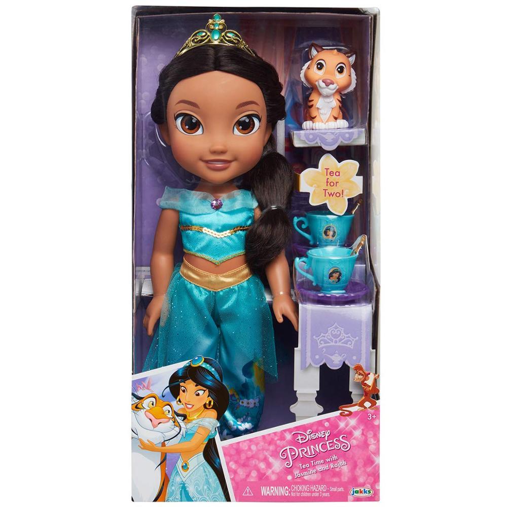 Jakks Pacific Disney Princesa Jasmine 35 Cm Y Rajah Con juego De Té Para Dos Te Juguetes Muñeca Para Niñas A Partir De 3 Años