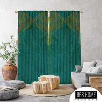 Tasikmalaya, Mandala Patterned Elephant Green,Window Curtain 2 panels,Blackout,Room Darkering,Made to order