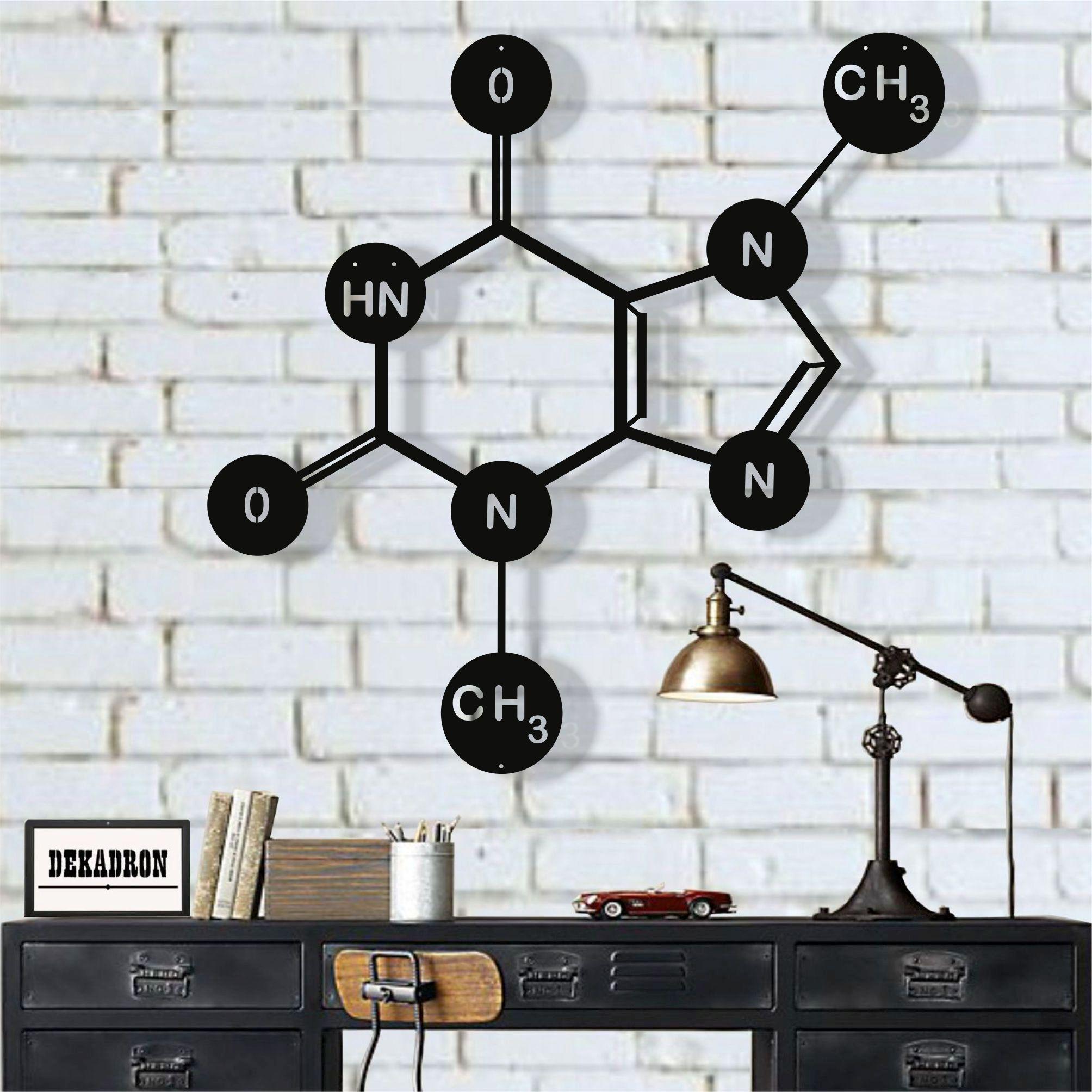 Art mural en métal, molécule de théobromine (chocolat), décor mural en métal, Art Nerd symbole, Art scientifique, bureau d'art de chimie de biologie