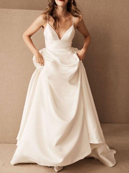 Simple Wedding Dress Satin V Neck Sleeveless Pockets A Line Bridal Gowns