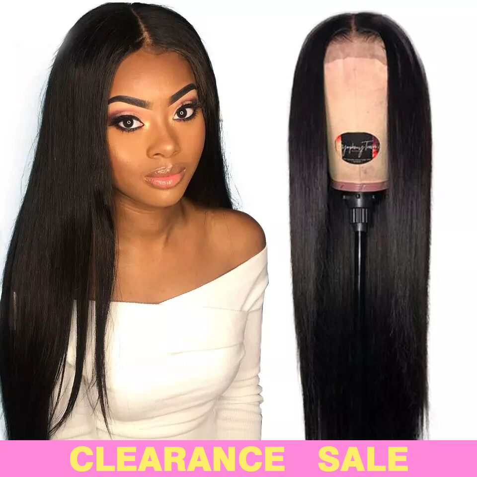 180% Lace Front Human Hair Wigs 13X4 Pre Plucked Non Remy Brazilian Straight Lace Front Wigs With Baby Hair For Black Women