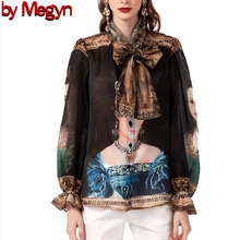 2020 spring summer fashion runway style women blouse chiffon queen praiting vintage lady long sleeve 3XL plus size tops shirts