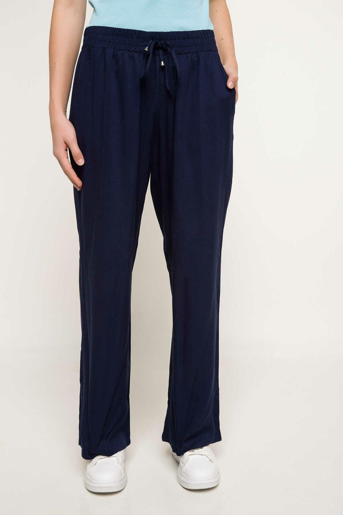 DeFacto Women Wide Leg Trousers Women Black Green Solid Color Long Pants Adjustable Casual Long Trousers Bottoms-I3714AZ18SM