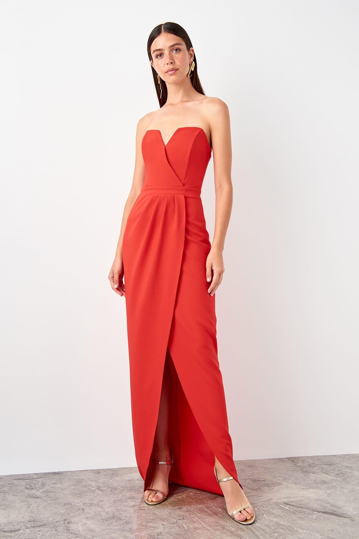 Trendyol Pleat Detail Evening Dress Dress TPRSS19AE0092