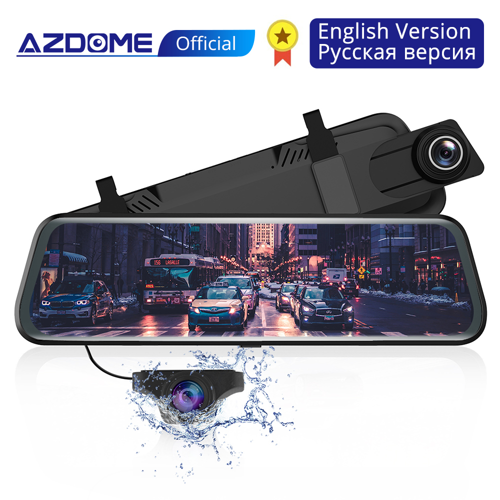 """AZDOME PG02 10"""" Streaming Media Mirror Dash Cam Full Screen Touching Dual Lens Night Vision 1080P Front 720P Backup Car DVR ADAS-in DVR/Dash Camera from Automobiles & Motorcycles"""