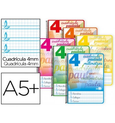 SPIRAL NOTEBOOK LEADERPAPER ROOM PAUTAGUIA SOFTCOVER 40H 80GSM BOX SCHEDULED 4MM ASSORTED COLORS 10 Pcs