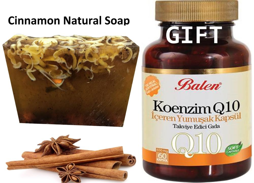 Anti Acne Cinnamon Natural Handmade Soaps 100 Gr+Gift Keep Your Skin And Health Young With Coenzyme Q 10 Containing Soft 60 Caps