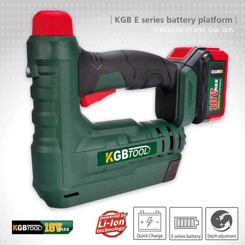 KGB Adjustable Cordless Electric Staple Gun Furniture Stapler For Carpentry