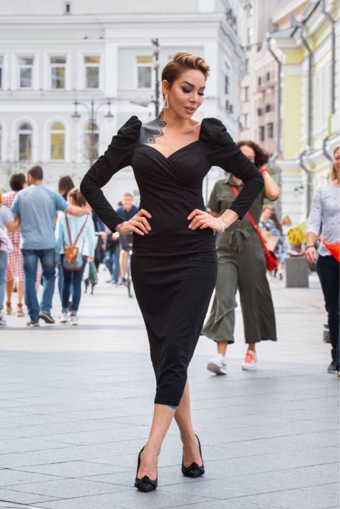 Black Surplice Neck Sweetheart Puff Sleeve Split Pencil Plain Bodycon Dress Women Spring Elegant High Waist Dress photo review
