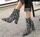 Léopard Zip épais bout pointu talons hauts bottes femme chaussures de neige mode classique Sexy bottine chaussures d'hiver femme dame
