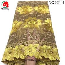 NQ924 Тюль Кружево 5 ярдов африканская сетчатая кружевная ткань с камнями вышивка молочный шелк французские нигерийские кружева сеточка текстиль для свадьбы