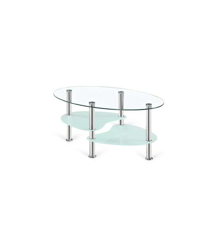 Center Table Brandy Oval With Lid And Glass Shelves