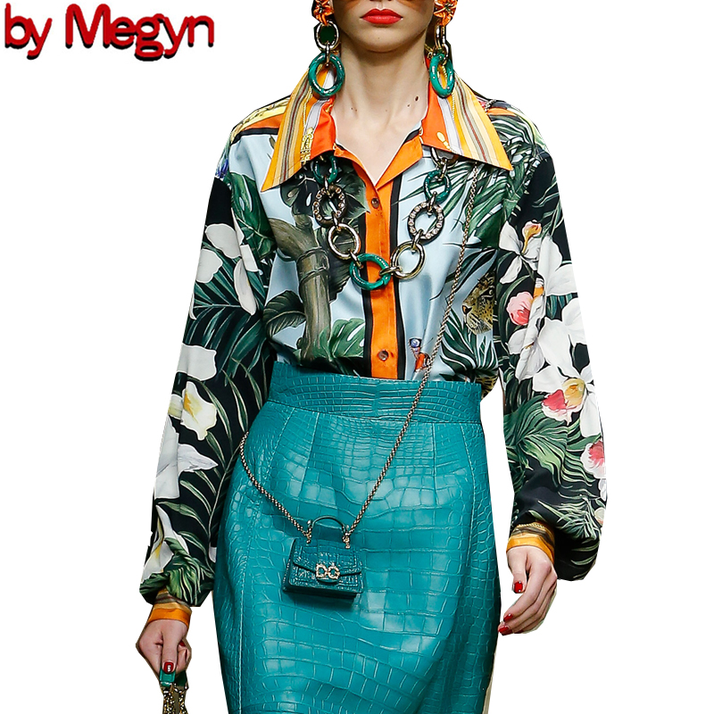 2020 Women Fashion Runway Blouse Vintage Print Shirts Tops 3XL Plus Size Chiffon New Style Long Sleeve Designer Brand Office