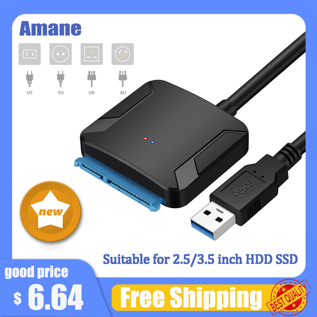 Amane USB 3.0 To Sata Adapter Converter Cable USB3.0 Hard Drive Converter Cable For Samsung Seagate WD 2.5 3.5 HDD SSD Adapter 1