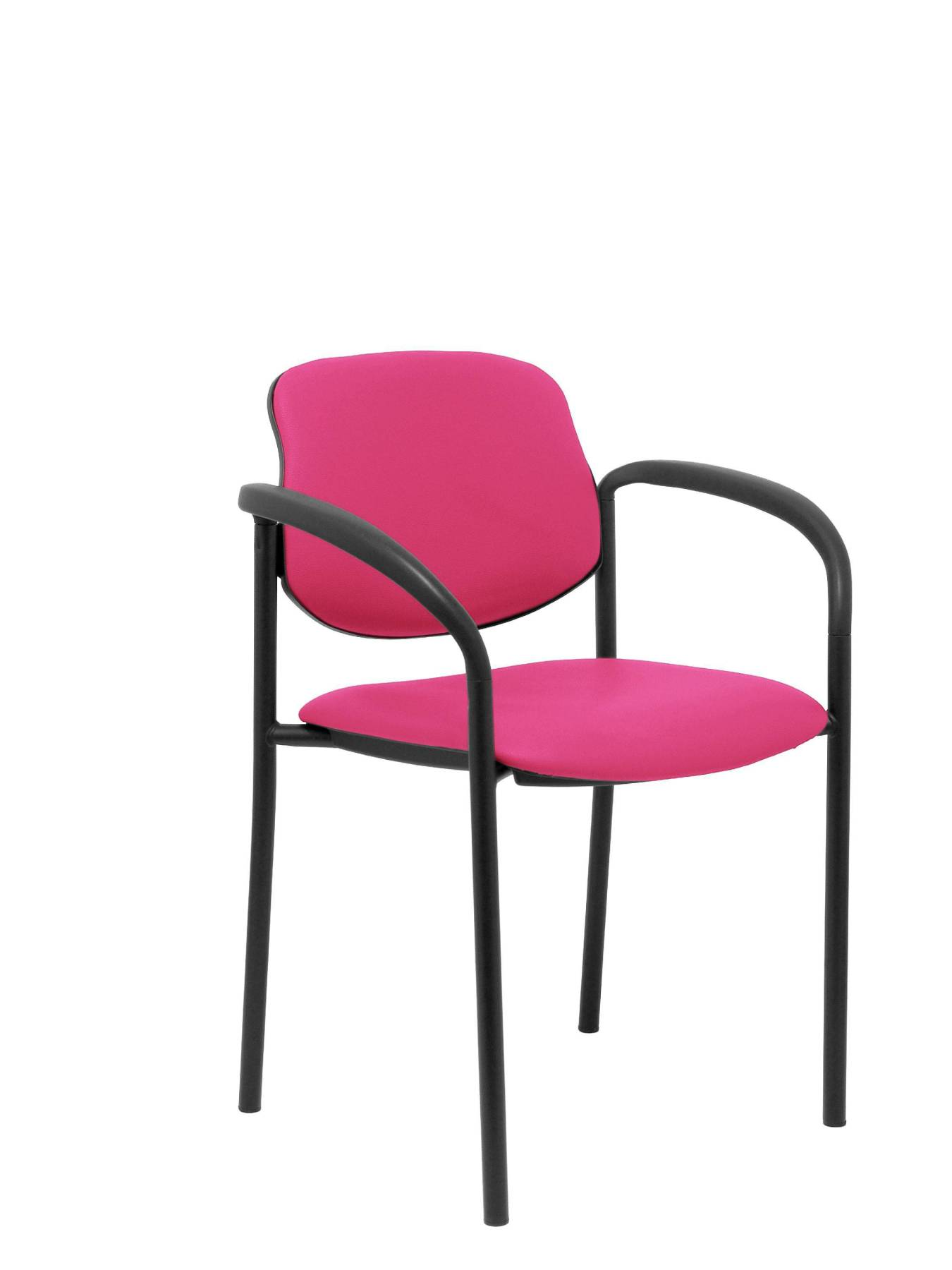 Visitor Chair 4's Topsy, With Arms And Estructrua Negro-up Seat And Backstop Upholstered In Tissue Similpiel Pink PIQUE
