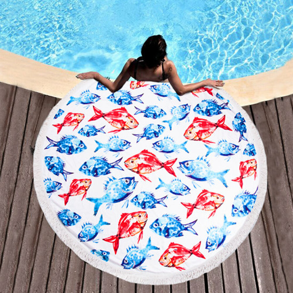 BiggDesign AnemosS daurade à motifs serviette de plage ronde-multicolore