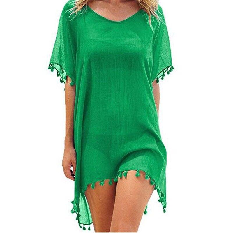 U0b31cbff12e643bdab8d98ae43557c50N Hirigin 2019 New Tassels Chiffon Beach Wear Swimsuit Cover Up Pareo Cap Swimwear Swimsuits Summer Mini Dress Loose Solid Ups