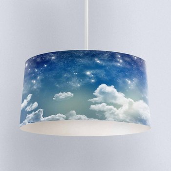 Else Blue Sky White Clouds Night Stars Digital Printed Fabric Chandelier Lamp Drum Lampshade Floor Ceiling Pendant Light Shade