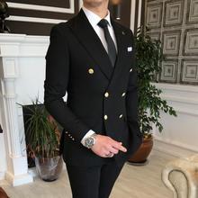 2021 Fashion Peak Lapel Black Men Wedding Prom Dress Suits Double Breasted Men Suits Groom Party Tuxedo 2 Pieces Set