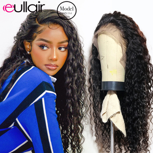 eullair 360 Lace Frontal Wig 30 inch Deep Wave Wigs 4x4 Lace Closure Wig 13x6 13x6 Lace Front Wig Pre Plucked Human Hair Wigs(China)