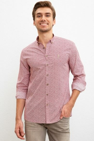 U.S. POLO ASSN. Burgundy Printed Slim Shirt