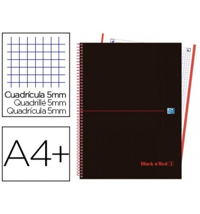 SPIRAL NOTEBOOK OXFORD EBOOK 4 DIN A4 + 120 H GRID PLASTIC CAP 5 MM BLACK'N COLORS RED 5 Units